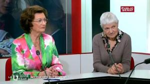 Jacqueline Lavillonniere, aux côtés de Madame la députée Muguette DINI, lors de l'émission débat sur Public Sénat